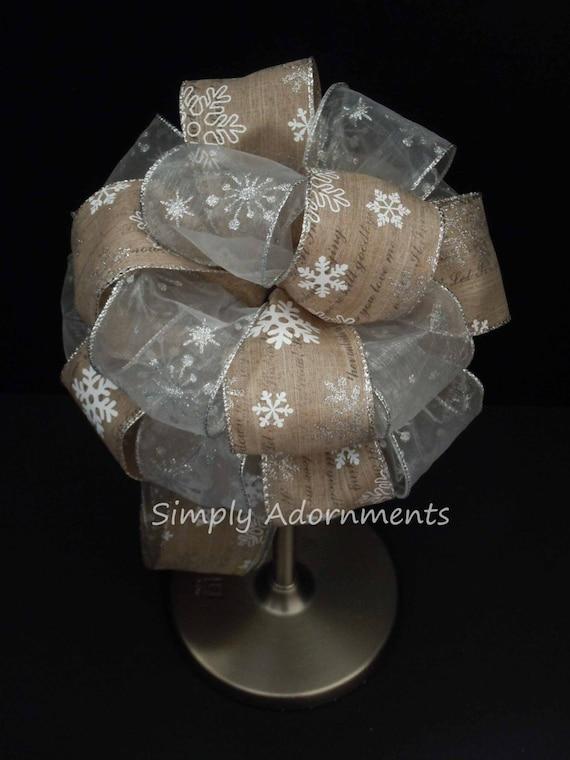 Rustic Snowflakes Christmas Wreath Bow Snowflakes Christmas Scripts Tree Topper Bow Rustic burlap White Snowflakes Tree bow Winter Pew Bow