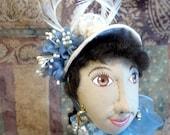 Susannah 20 inch tall cloth art doll in cream and sky blue Victorian dress