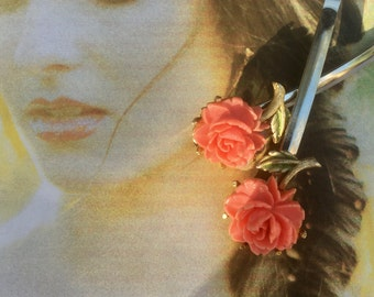 Bridal Coral Celluloid Rose Hair Pins 1940 1950 Vintage Hairpins Bobby Pins