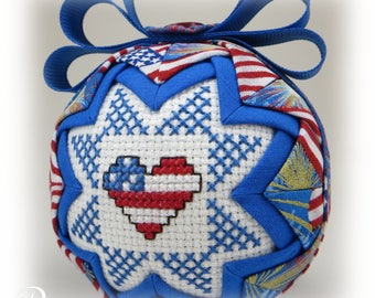Quilted Ornament - July 4th  Ornament - Patriotic Ornament