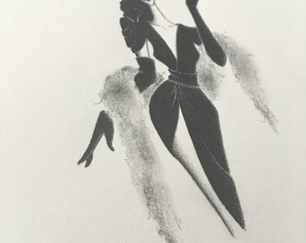 original pencil drawing / fashion illustration / art / sketch / noir / vamp / hollywood / designer / decor