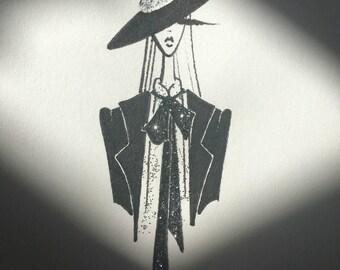 glam fashion illustration / original drawing / ink pen art / disco decor / glitter fashion sketch