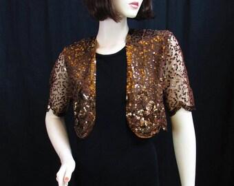 1930's Bronze Sequin Bolero Jacket / Hollywood Golden Age - Size: X Small -  Small
