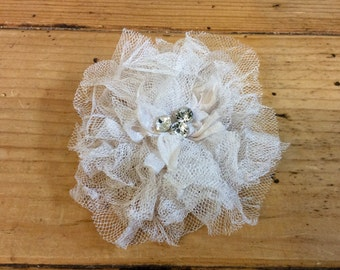 Pink Tulle Flower Clip