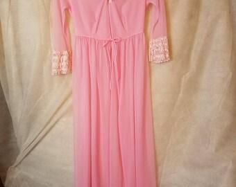 Large GIRL (XS Extra Small Woman) Vintage 60s 70s Sheer Pale Pink Romantic Kawaii Lolita  Chiffon Peignoir Pin Up Robe Lingerie Bathrobe