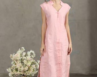 pink linen kimono dress, pink shirt, pink dress, linen dress, linen shirt, linen tunic, oversize dress, linen blouse, party dress