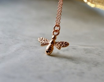 Rose Gold Bee Necklace, Tiny Bee Pendant, Bumble Bee Jewelry, Rose Gold Charm Necklace, Honey Bee Insect, Best Sellers, Wife Gift, For Women
