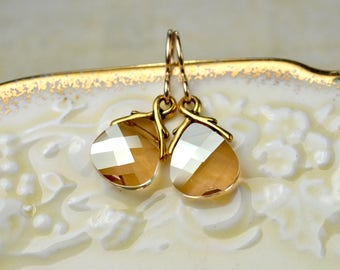 Swarovski Briolette Earrings, Gold Filled Earrings, Swarovski Earrings, Bridesmaid Jewelry, Crystal Earrings, Crystal Bridal Jewelry Gift