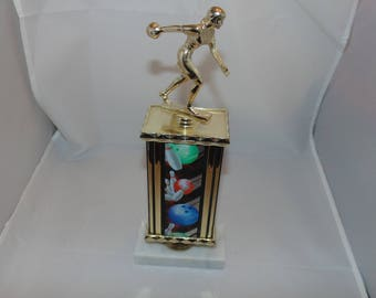 Vintage Womens Bowling trophy White Carrera marble Base Italy Vintage sports decor