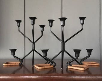 Set of 6 Danish Modern Candle Holders with Rattan Wrapped Detail - Sakoni Denmark