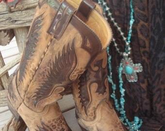 Old Gringo Boots Elvis Vintage Eagle Thunderbird Phoenix Leopardito Ochre Tan SIZE 9.5 Women's
