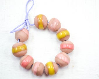 10 Handcrafted Ceramic Beads - Pastel - Unique Assortment - Earthy - Striped- Handmade - Round- Pottery beads - Brownstone - Bead Set Y470