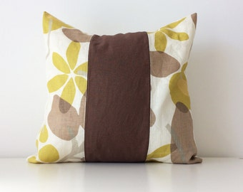 """P/Kaufmann Pillow Cover, 16x16"""", Floral, Yellow, Brown, Modern Cushion Cover, Contemporary Designer Fabric, Patchwork, Botanical Pattern"""