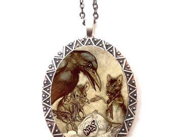 Arthur Rackham Crow Necklace Pendant Silver Tone - Black Bird Rat Mouse Fairy Tale Fairytale Storybook