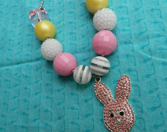 "Easter Pink Bunny 24"" Chunky Ball Bead Necklace *Ready to Ship"
