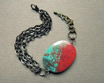 Chrysocolla Bracelet - Chrysocolla Jewelry - Sonora Sunrise Jewelry - Boho Chain Bracelet - Statement Bracelet - Sonoran Sunrise Bracelet