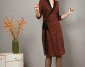 """Wrap Dress, Nursing Dress """"Diana"""" in rusty ans black millefleur"""