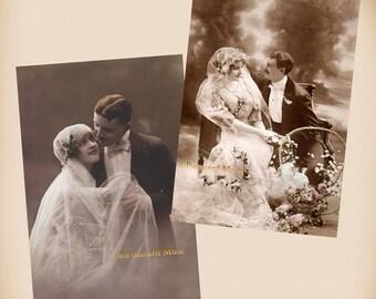 Romantic Wedding Couple - 2  New 4x6 Vintage Postcard Image Photo Prints CP01-42