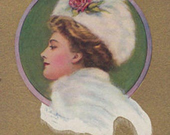 Profile Portrait Of A Lady In A White Plumed Hat Original Antique Art Postcard