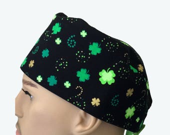 Surgical Scrub Cap - Green Clover Leaves on Black Scrub Hat - St. Patrick's scrub hat - Irish Scrub Hat - short hair scrub caps