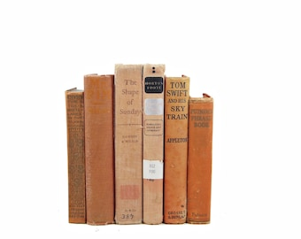 Antique Apricot Decorative Books, Weathered Vintage Book Decor, Orange Book Centerpiece, Shabby Chic Old book set, Brown Book COllection