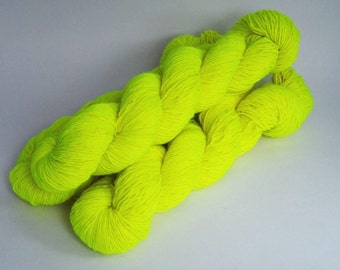 Fluorescent Yellow 4ply Sock Yarn 100g