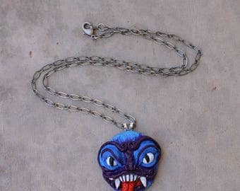 Japanese Demon Mask, Gift for Him, Polymer Clay Jewelry, Pendant, Small Pendant, Horror Jewelry, Gift for Her, Alternative Jewelry