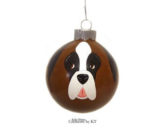 Saint Bernard Ornament MADE TO ORDER Christmas Glass Bauble Dog Ornament Hand Painted St Bernard Pet Portrait Pet Gift Pet Memorial Painting