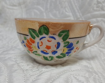Peach and White Lusterware Teacup with Floral design, Made in Japan, 1960's Eggshell China