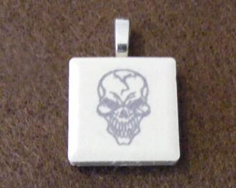 Skull - Laser engraved Ceramic Tile Pendant