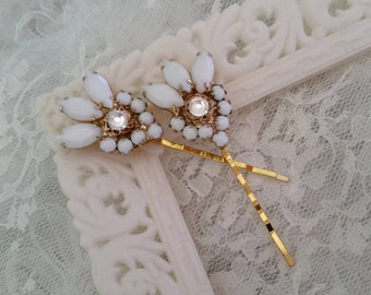 VINTAGE Milk Glass & Crystal Bridal Hair Pins Bobby Pins Set of Two Bridesmaids Gift Idea Bride One of a Kind White Opaque Gold