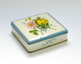 Vintage Huntley & Palmer Floral Biscuit Tin,  Kitsch