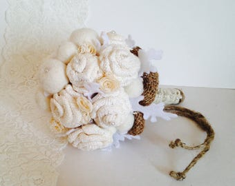 Rustic White Burlap Rose Felt Billy Buttons Lace Flowers Small Bouquet / Ready to ship