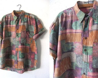 Tie Dye Van Gogh Style Silk Shirt - 90s Pastel Impressionist Style Hip Hop Short Sleeve Button Down Shirt - Mens Large