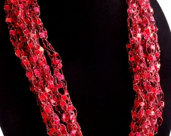 Red with Gold Lurex Crochet Ladder Yarn Necklace