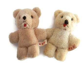 Pair Teddy Bear from Japan Wool Mohair  Vintage Miniature Japanese Stuffed Bear Toy