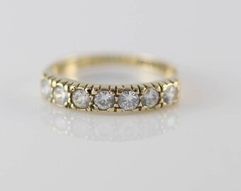 9ct Gold Ladies Half Eternity Ring with Small CZ Clear Set Stones   Size UK K and US 5.25