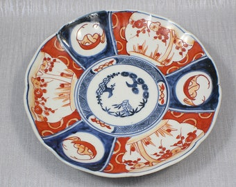 Lovely Antique Hand Painted Orange and Blue Ornamental Ceramic Plate