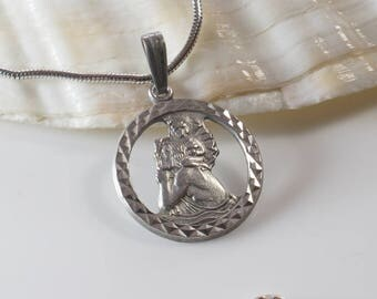 Round Cut Out St. Christopher Silver Pendant Raised Details on 925 Silver Chain Necklace