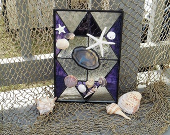 Purple Abstract Stained Glass Sun Catcher/Panel with Accents of Seashells, Starfish & Sand Dollar