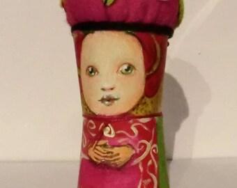 felt doll pincushion,character pincushion,cute pincushion, cute small felt doll, handpainted doll, handmade pincushion, pins and needles