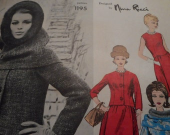 Vintage 1960's Vogue 1195 Paris Original Nina Ricci Dress, Jacket and Hood Sewing Pattern, Size 14 Bust 34 or Size 10 Bust 31