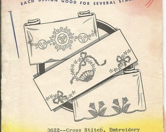 Vintage Aunt Martha's Hot Iron Transfers  Cross Stitch Embroidery for Linens