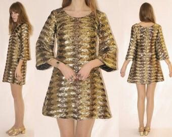 Vtg 60s Gold Sequin Mini Dress