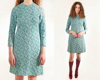 Vtg 60s Psych Floral Mod Mini Dress S