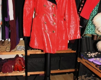 Nightmares in Red-70's Glam Rock Pillar Box Red Vinyl and Black Faux Fur Jacket