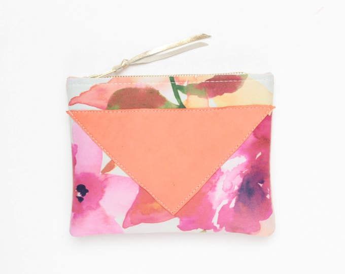 SPLASH 90 / Cotton pouch-natural leather pouch-floral print-make up bag-cosmetic purse-small leather purse-zipper pouch-Ready to Ship