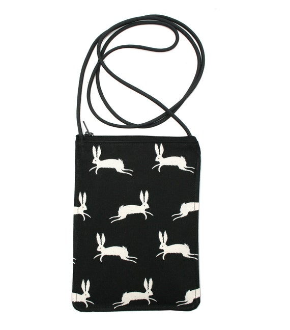 Rabbits, black and white, small cross body, vegan leather, zipper top, passport bag