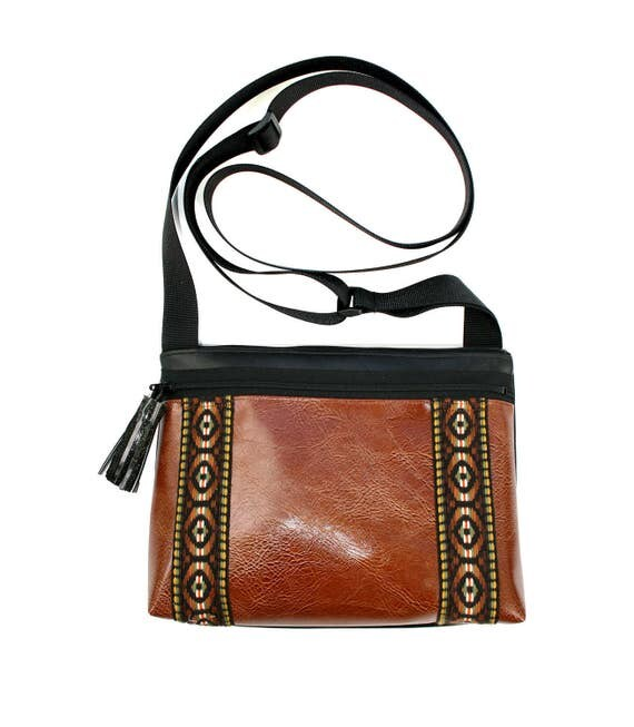 Brown vinyl, vintage trim, double stripe, tassel, boxy cross body, vegan leather, zipper top