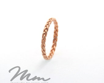 Braided Thin Rose Gold Ring, Thin Gold Rings, Rose Gold Stacking Rings Rose Gold Wedding band, Braided Ring, Stackable Ring, Gold Twist Ring